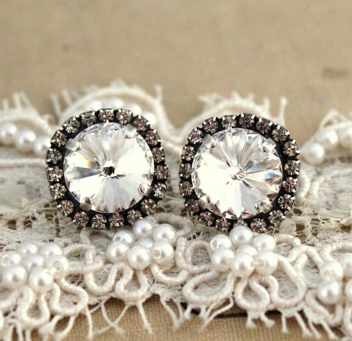 Bridal Crystal Earrings Silver Plated Oxidized Swarovski Wedding Women Bride