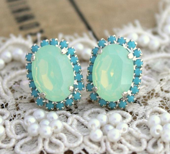 Turquoise Oval Stud Earring Silver Plated Gold Swarovski Rhinestones Wedding