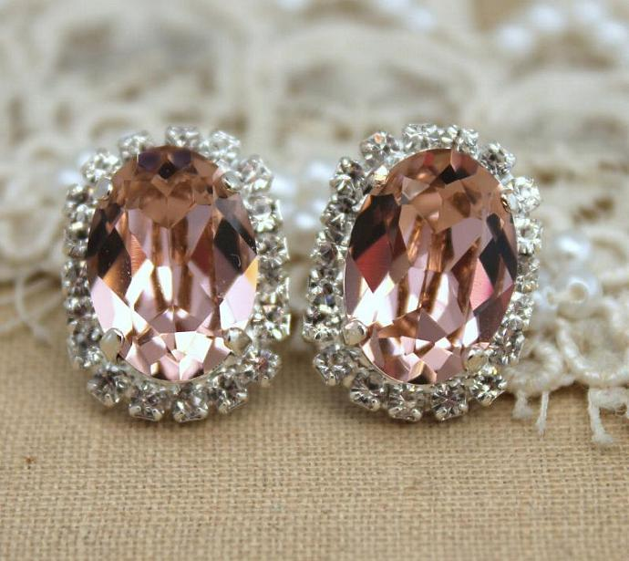 Pink Crystal Oval Stud Earrings Silver Earrings Swarovski Women Wedding Gift