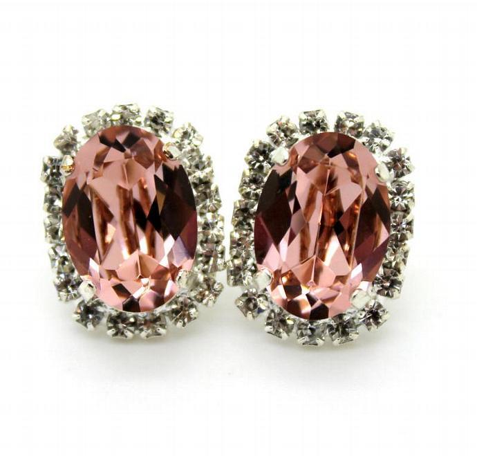 Pink Crystal Oval Stud Earrings Silver Earrings Swarovski Women Wedding Gift