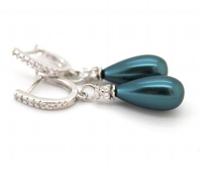 Silver Green Majorica Pearl Earrings Woman Rhodium Silver Zirconia Metallic