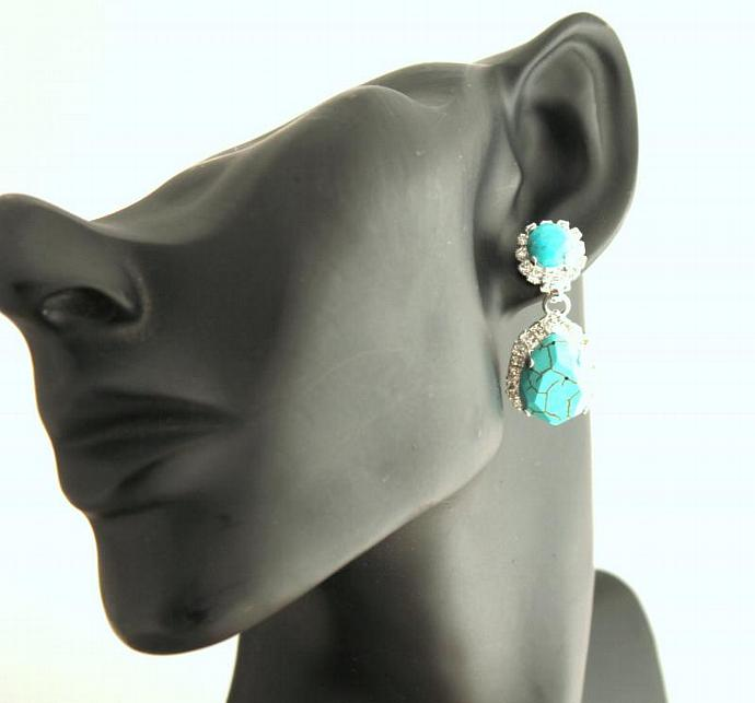Turquoise Silver Earring Crystal Earrings Woman Wedding Swarovski Jewelry