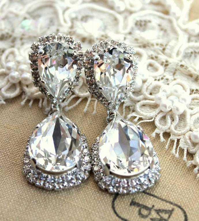 Silver Earrings Woman Wedding Jewelry Oxidized Swarovski Crystals Bride Gift