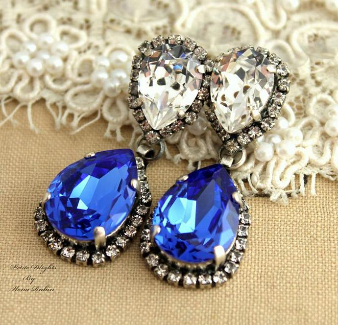Sapphire Blue White Silver Chandelier Earring Gift Swarovski Wedding Jewelry