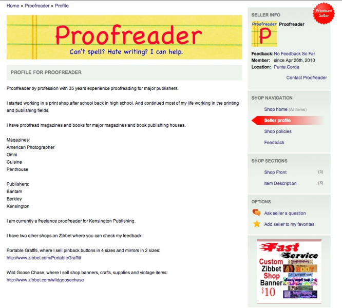 Proofread Profile Page Up To 100 Words