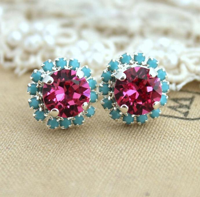 Swarovski Turquoise Pink Studs Bridesmaids Earrings Bridal Jewelry Silver