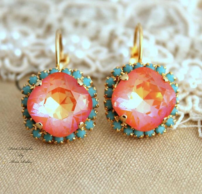 Women Jewelry Orange Turquoise Earrings Swarovski Crystal Bridal 14k Gold