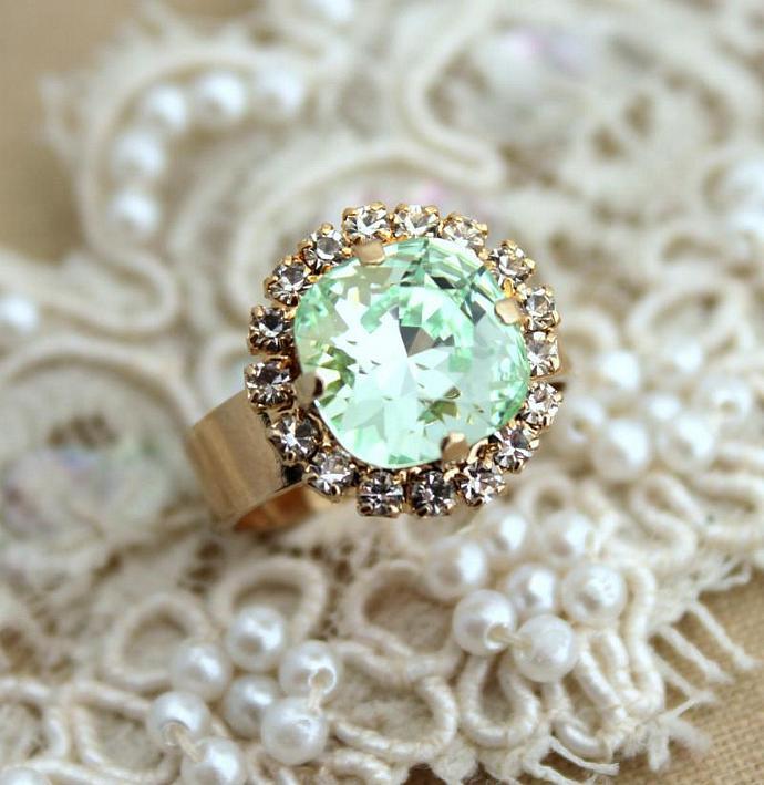 Mint Gold Adjustable Ring Green 14k Plated Gold Swarovski Woman Wedding Gift