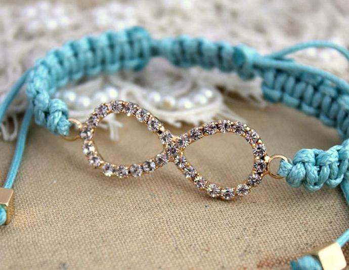 Rhinestone Infinity Friendship Bracelet Tiffany Blue 14k Gold White Zircons