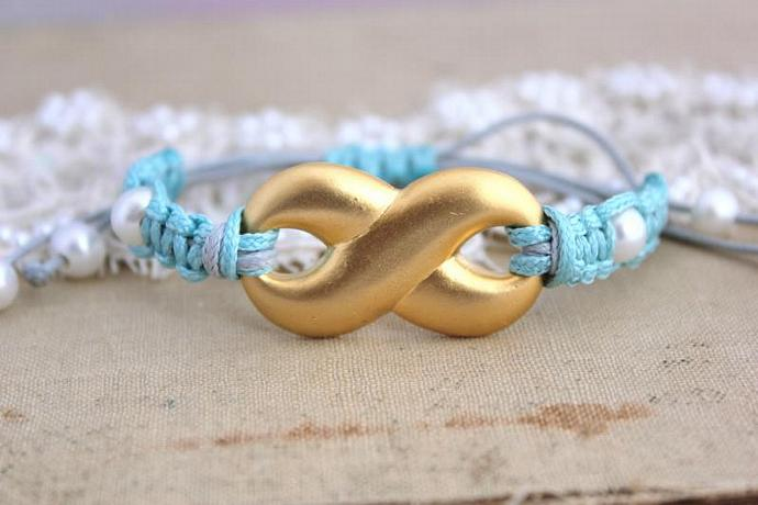 Infinity Friendship Bracelet Tiffany Blue14 K Coated Braided Bracelet Pearls