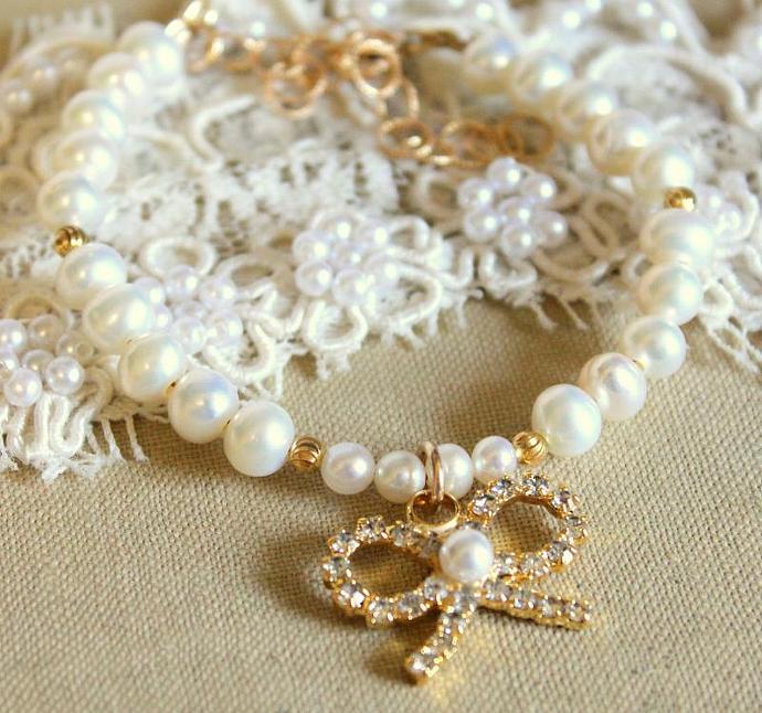 Pearl Bracelet Elegant Classic Pearls Bracelet With Swarovski Crystal Bow