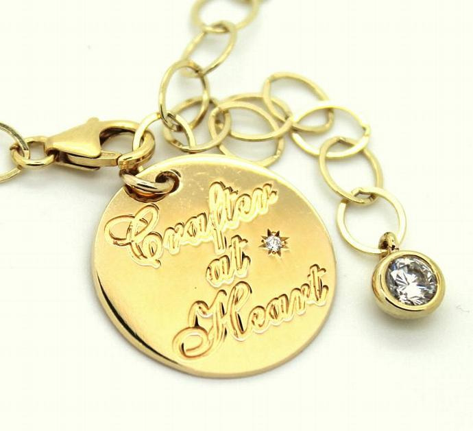 Charm Bracelet For Crafters At Heart 14k Real Gold Filled And Cz Zircon Girl