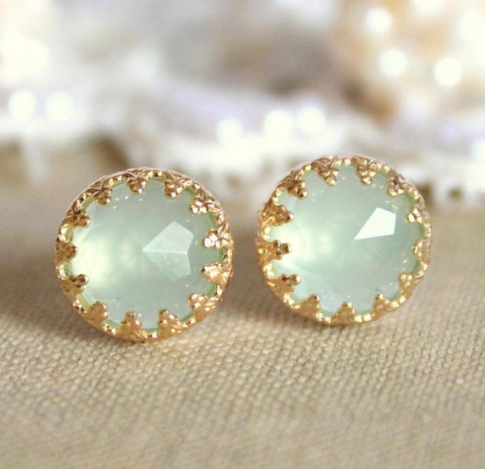 Wedding Bridel Elizabeth Green Aquamarine Gem Stone Earrings Vintage Women
