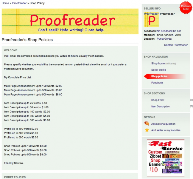 Proofread Shop Policies Up To 100 Words