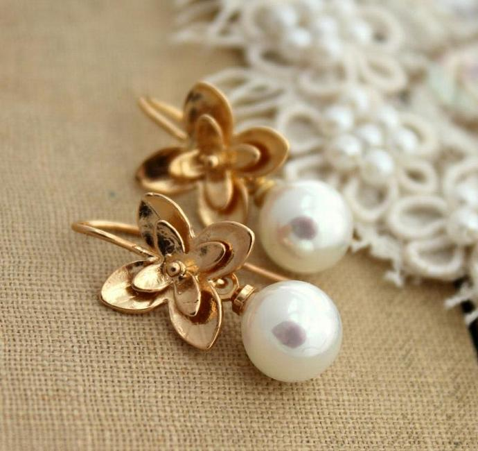 Women Jewelry Bridal Pearls Gold Earring Goldfield Majorica Perfect Round