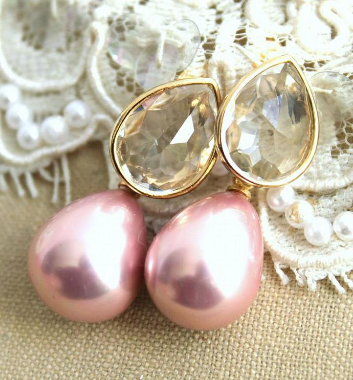 Bridal Jewelry Pearls Rhinestones 14k Gold Earring White Majorica Pink Girl