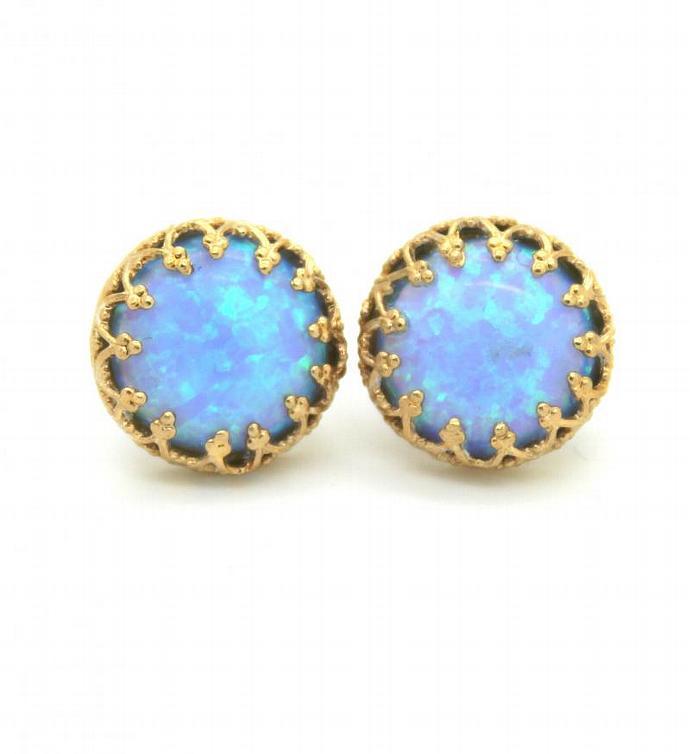 Opal Earrings Blue Aqua Bridesmaids 14k Gold Filled Crown Seafoam Stone Girl