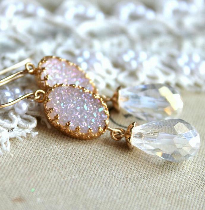 White Druzy Earrings Bridal Bride Gift 14k Gold Jewelry Swarovski Wedding