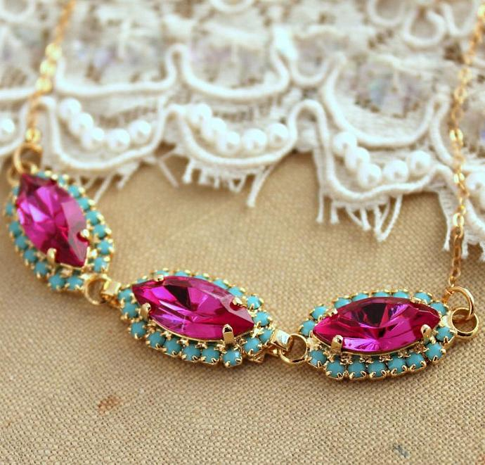 Crystal Pink Turquoise Swarovski Necklace Wedding Jewelry Bride - 14k Gold