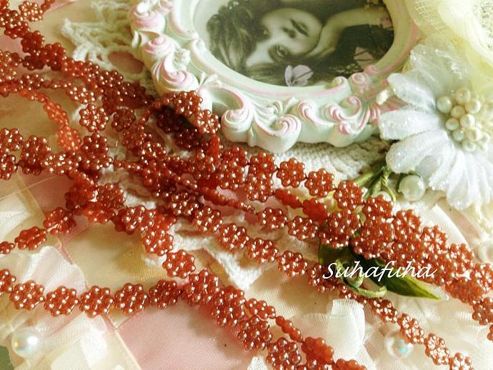 3 yds 6mm Acrylic Pearl Mini Flower Trim in BRONZE color
