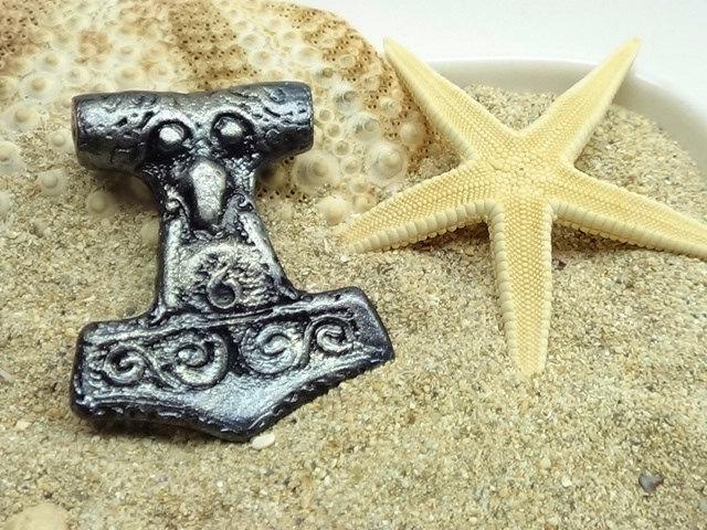 Viking Raven Thor's Hammer Pendant - Handmade 2 sided