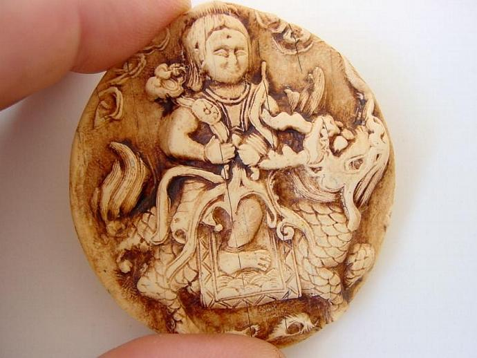 Artifact - Mythical Asian Tile Cabochon - handmade