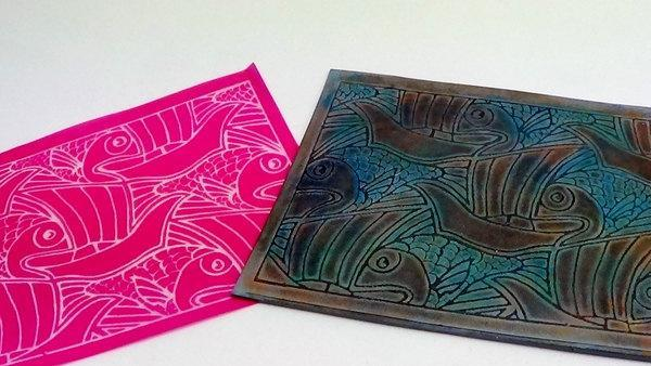 Boat and Fish Silkscreen for Polymer clay and Crafts