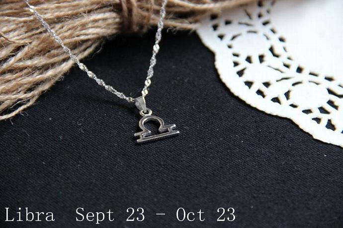 Libra Necklace, Libra Zodiac, Libra Charm Necklace, Silver Charm Necklace,