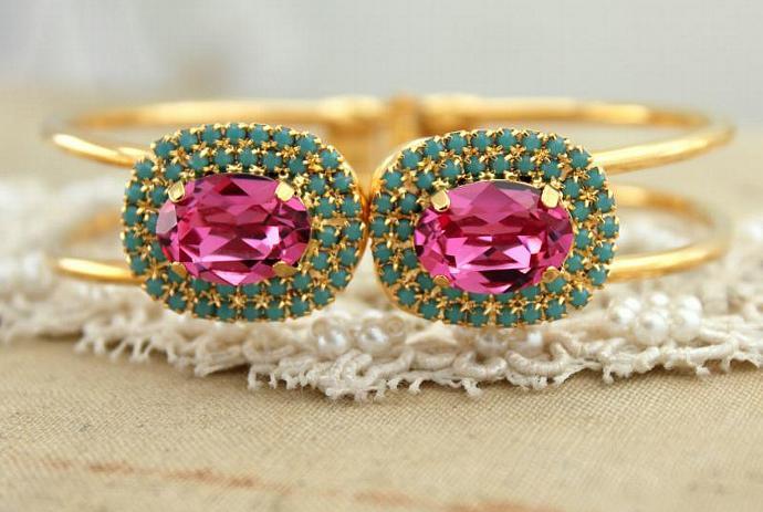 Women Pink Turquoise Rhinestone Bracelet 14k Plated Gold Swarovski Crystals