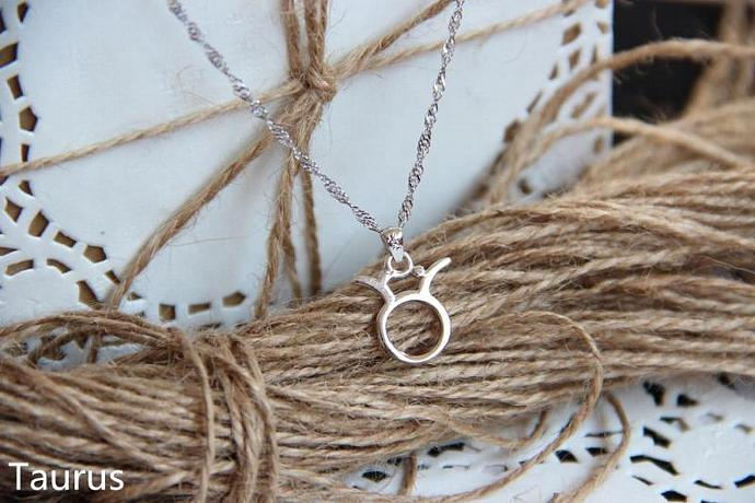 Taurus Necklace, Taurus Zodiac, Taurus Charm Necklace, Silver Charm Necklace,