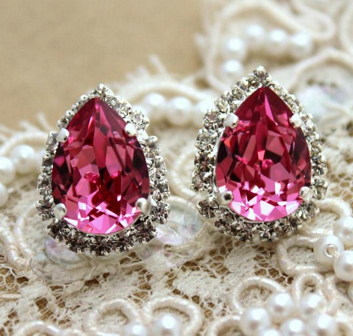 Pink Crystal Teardrop Stud Earring Silver Swarovski Rhinestones Jewelry Girl
