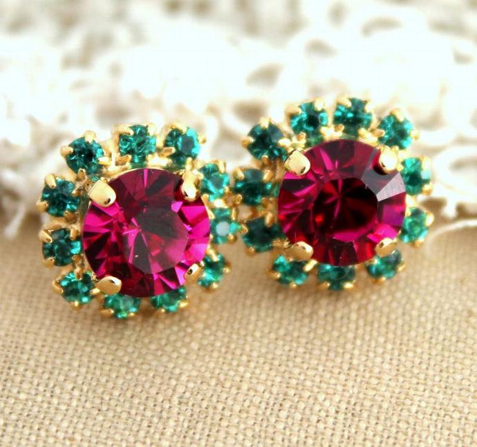 Designed 14k Yellow Gold Plated Stud Earrings Swarovski Crystal Jewelry