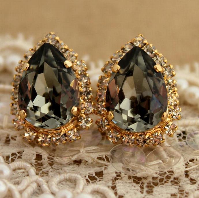 New 14k Yellow Gold Plated Drop/Dangle Earrings Swarovski Crystal Jewelry