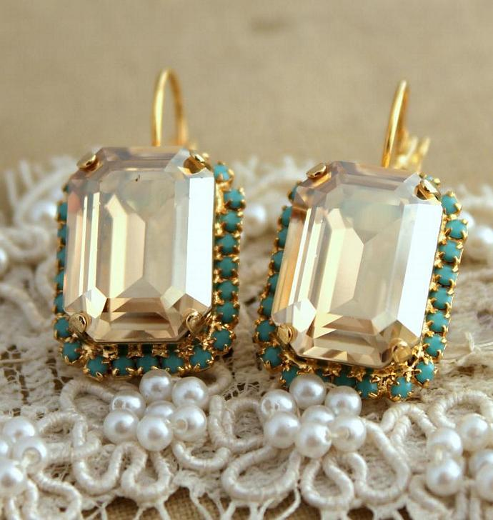 Amazing 14k Yellow Gold Plated Drop/Dangle Earrings Turquoise Jewelry