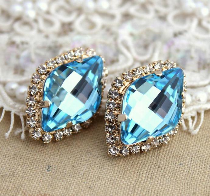 Amazing 14k Yellow Gold Plated Stud Earrings Swarovski Crystal Jewelry