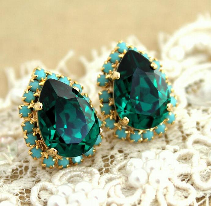14k Yellow Gold Plated Drop/Dangle Earrings Swarovski Crystal Jewelry