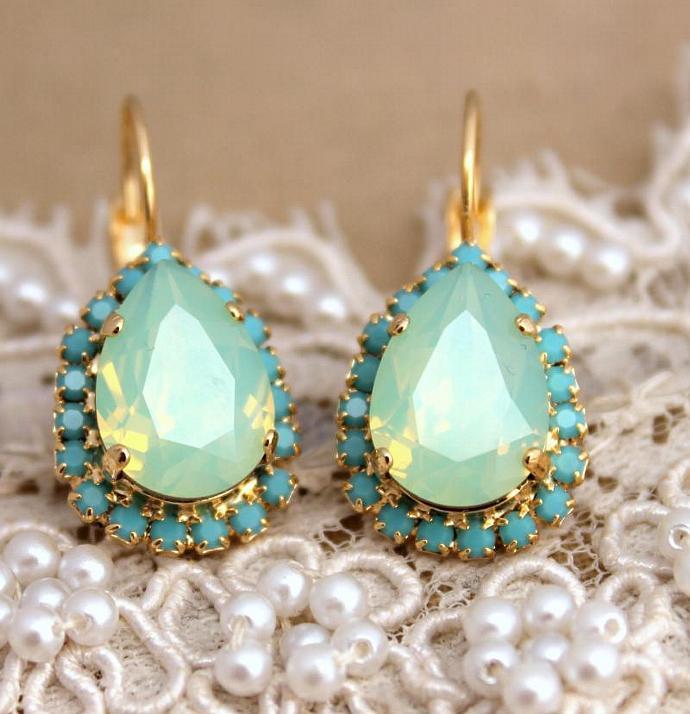 Amazing 14k Yellow Gold Plated Drop/Dangle Earrings Swarovski Crystal Jewelry