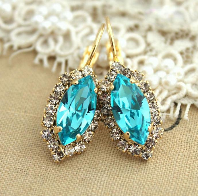 Amazing 14k Yellow Gold Plated Drop/Dangle Earrings Turquoise Jewelry