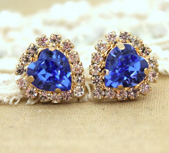 New 14k Yellow Gold Plated Stud Earrings Swarovski Crystal Jewelry