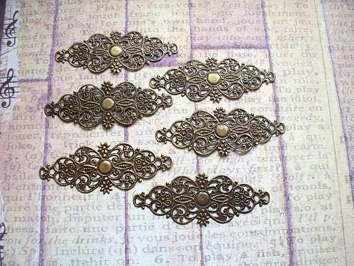6 pcs. Antique Bronze Filigree 6.1x2.4cm. Item# FLB-03