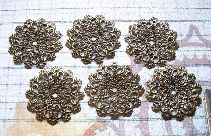 6 pcs. Antique Bronze Filigree 4.7cm. Item# FRB-08