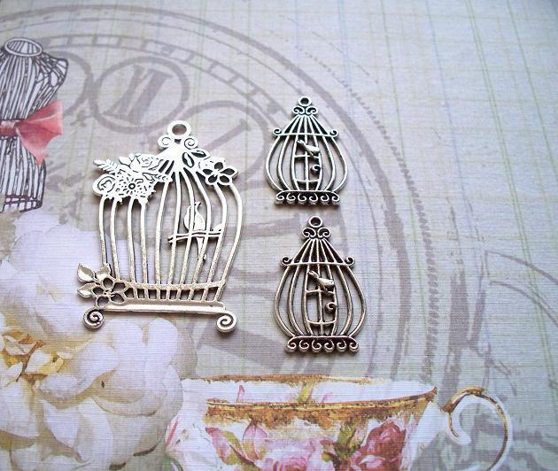 3 pcs. Bird Cage Charms Silver