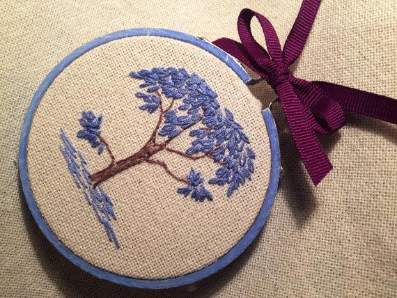 Blue tree in bloom spring floral design embroidery. Spring fever, Easter, April,