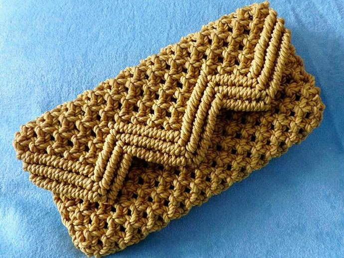 Macrame clutch purse, Dark Gold clutch purse, clutch purse, woman's purse,
