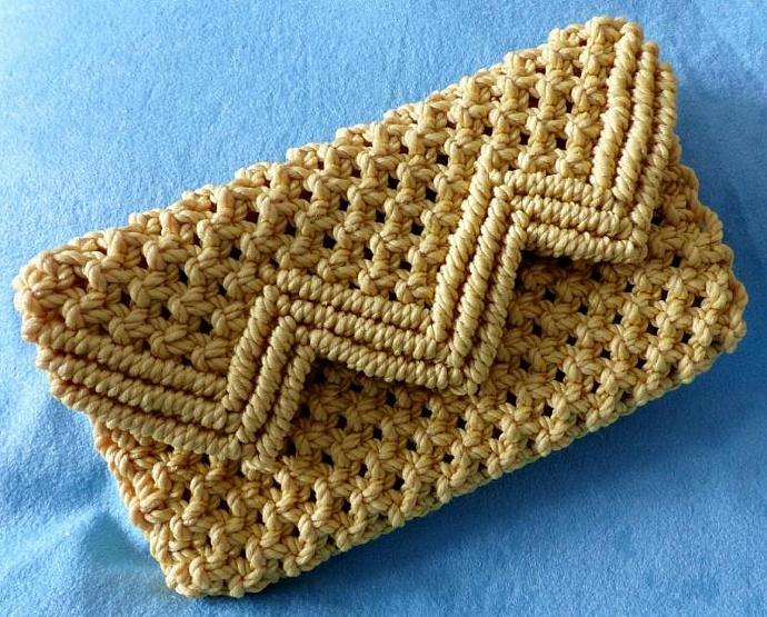 Macrame clutch purse,  Light Gold clutch purse, clutch purse, woman's purse,