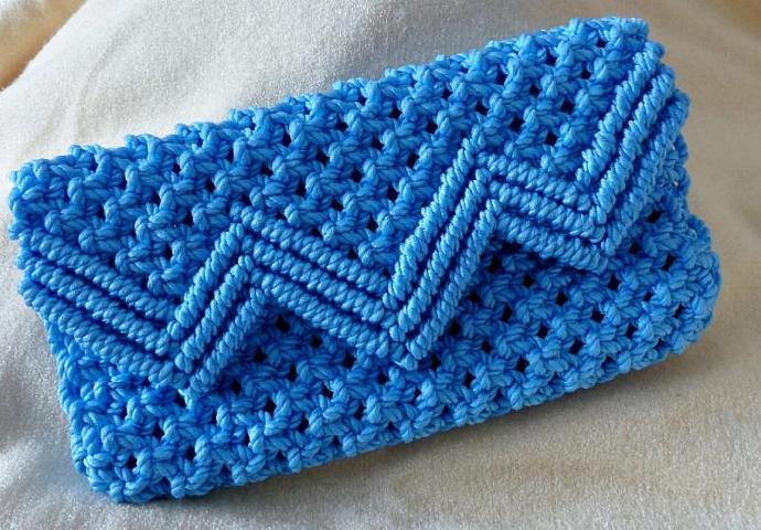 Macrame clutch purse, Light blue clutch purse, clutch purse, woman's purse,