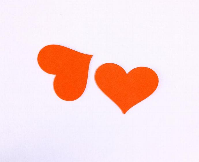 Eco friendly hand punched heart - orange (TAG013)
