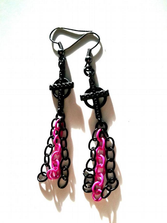 Dangle Pink and Black Cross Earrings - Teen Girl Gift, Tween Girl Jewelry
