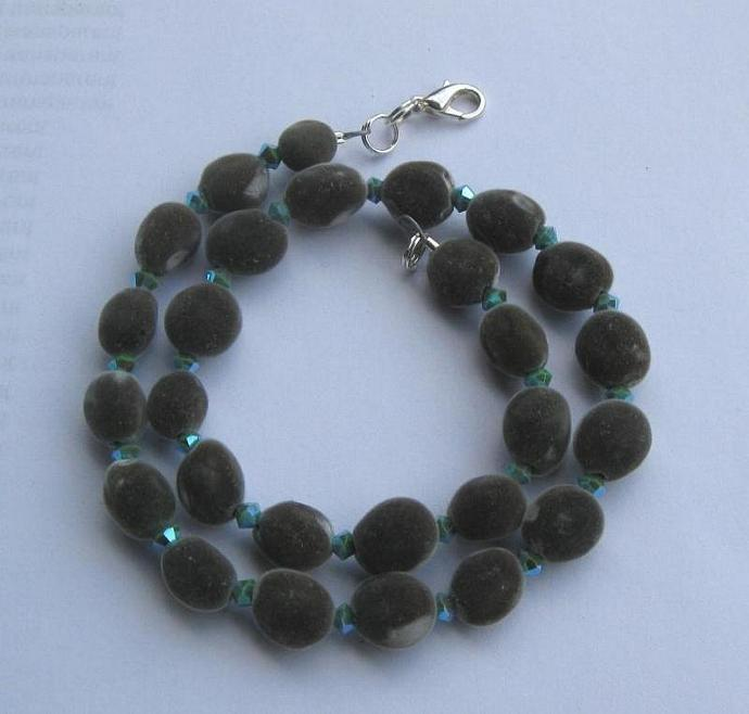 Mgambo seed and turquoise 2AB Swarovski crystal necklace