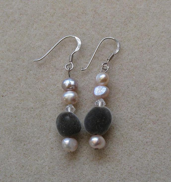 Sterling silver, pastel pink fresh water pearl and Hawaiian mgambo seed dangle